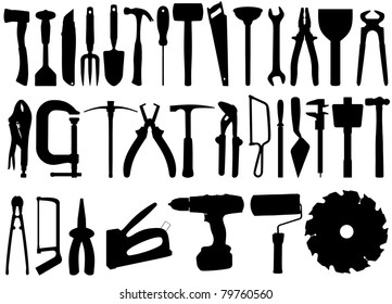 Illustrated silhouette collection of tools