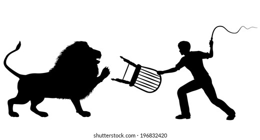 Illustrated silhouette of a lion-taming man with whip and chair