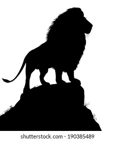 Illustrated silhouette of a male lion standing on a rocky outcrop