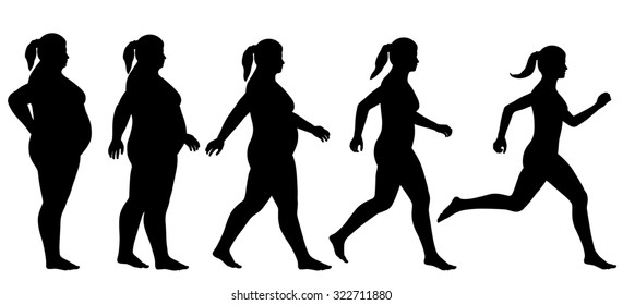 Illustrated silhouette sequence of a woman exercising to lose weight