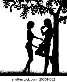 Illustrated silhouettes of Adam and Eve and an apple tree