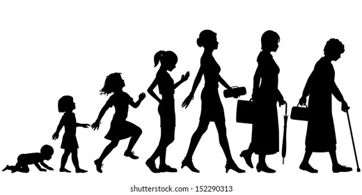 Illustrated silhouettes of different stages of a woman's life