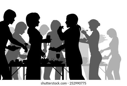 Illustrated silhouettes of people enjoying a buffet