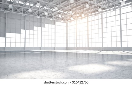 illustrated warehouse clean empty 3D