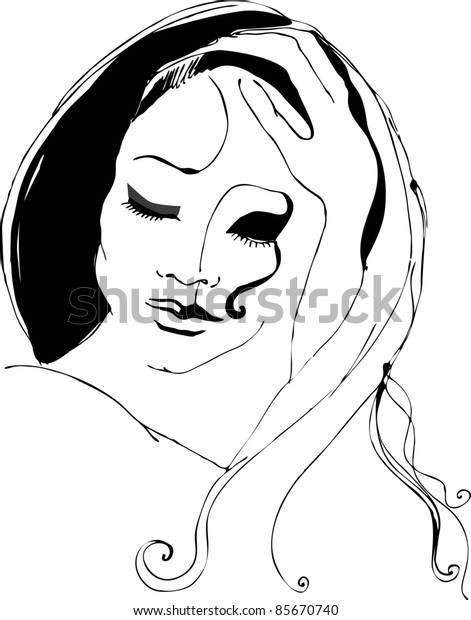Illustrated woman isolated on white background / outlines/ ink/ drawing/ handmade