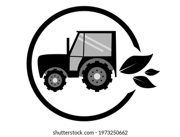 Illustrated znak of ecological sustainable agriculture. Tractor with three leaves in a circle. Black and white.