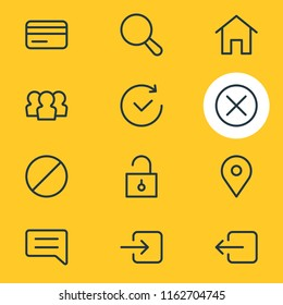 illustration of 12 application icons line style. Editable set of future, close, home and other icon elements.