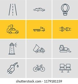 illustration of 12 carrying icons line style. Editable set of flatbed truck, seat belt, dump truck and other icon elements.