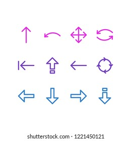 illustration of 12 direction icons line style. Editable set of down, caps lock, rotate and other icon elements.