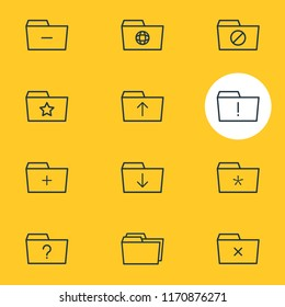illustration of 12 document icons line style. Editable set of significant, shared, dossier and other icon elements.