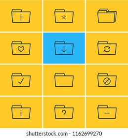 illustration of 12 dossier icons line style. Editable set of important, significant, download and other icon elements.
