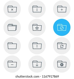 illustration of 12 dossier icons line style. Editable set of add, remove, delete and other icon elements.