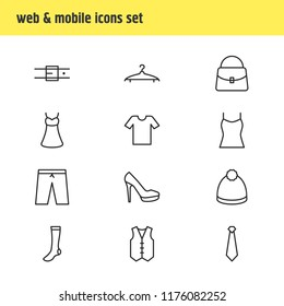 illustration of 12 garment icons line style. Editable set of socks, vest, heeled shoe and other icon elements.