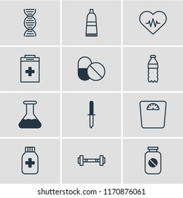 illustration of 12 health icons line style. Editable set of heart with cardiogram, drug container, barbell and other icon elements.
