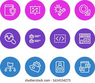 illustration of 12 marketing icons line style. Editable set of web security, SEO tag, jobs open and other icon elements.