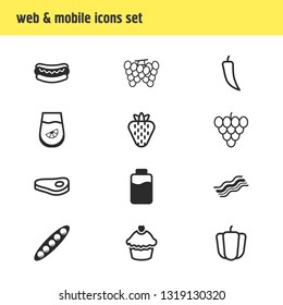 illustration of 12 meal icons line style. Editable set of lactose, paprika, grape and other icon elements.
