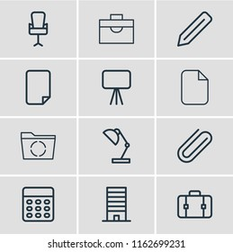 illustration of 12 office icons line style. Editable set of reload, briefcase, clip and other icon elements.