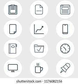 illustration of 12 office icons line style. Editable set of browser tab, empty dossier, remove and other icon elements.