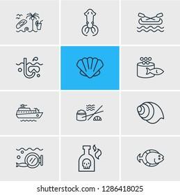 illustration of 12 sea icons line style. Editable set of ship, flatfish, canoe and other icon elements.