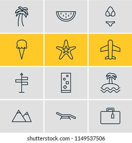 illustration of 12 season icons line style. Editable set of plane, soft drink, beach bench and other icon elements.