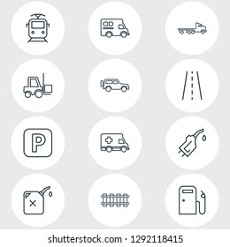 illustration of 12 transport icons line style. Editable set of road, gas station, flatbed truck and other icon elements.