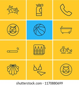 illustration of 12 travel icons line style. Editable set of seashell, basketball, minibar and other icon elements.