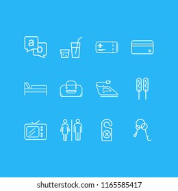 illustration of 12 vacation icons line style. Editable set of tv, iron, drink and other icon elements.