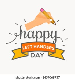Illustration Of 13 August International Left Handers Day.