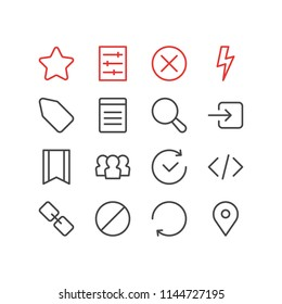 illustration of 16 annex icons line style. Editable set of tag, refresh, setting and other icon elements.