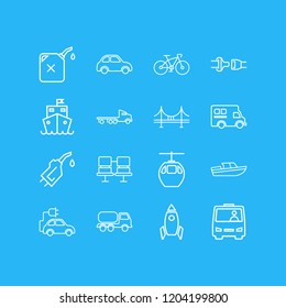 illustration of 16 carrying icons line style. Editable set of gasoline pipe, shuttle, tank truck and other icon elements.