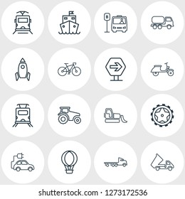 illustration of 16 carrying icons line style. Editable set of eco car, space vehicle, flatbed truck and other icon elements.