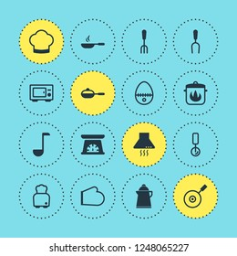 illustration of 16 cooking icons. Editable set of kettle, hot pan, kitchen hood and other icon elements.