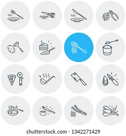 illustration of 16 cutlery icons line style. Editable set of pizza slicer, oyster knife, fondue fork and other icon elements.