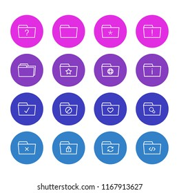illustration of 16 document icons line style. Editable set of delete, dossier, checked and other icon elements.