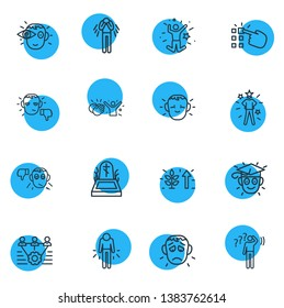 illustration of 16 emoji icons line style. Editable set of death, offence, teamwork and other icon elements.