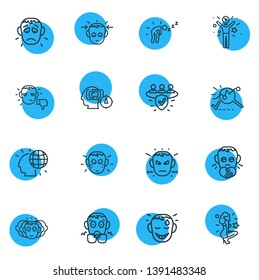 illustration of 16 emoticon icons line style. Editable set of analysis, annoyed, offence and other icon elements.