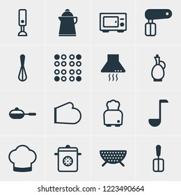 illustration of 16 kitchenware icons. Editable set of electric stove, toaster, skillet and other icon elements.
