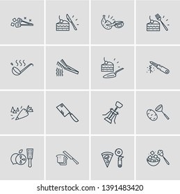 illustration of 16 kitchenware icons line style. Editable set of zester, spaghetti tongs, ice tongs and other icon elements.