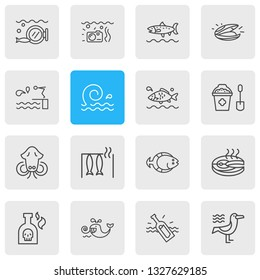 illustration of 16 sea icons line style. Editable set of aquatic, flatfish, seagull and other icon elements.