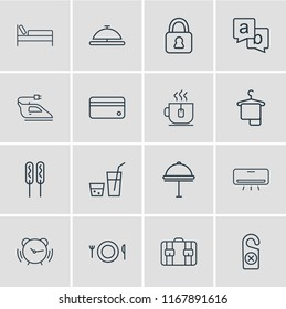 illustration of 16 vacation icons line style. Editable set of tea cup, iron, hotel delivery and other icon elements.