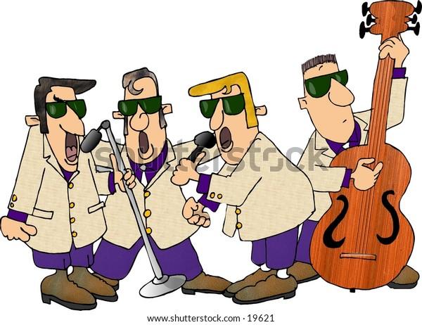 Illustration of a 1950's era singing group.