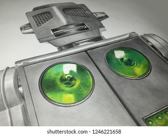 Illustration of 1950's tin robot