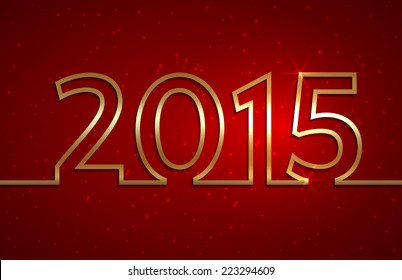 illustration of 2015 new year gold and red greeting billboard with gold wire
