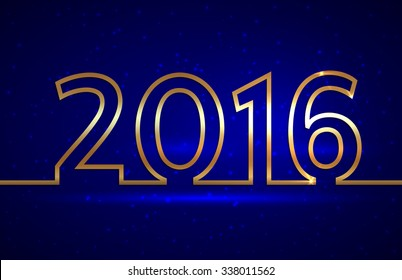 illustration of 2016 new year gold and blue greeting billboard with gold wire