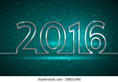 illustration of 2016 new year greeting billboard with silver wire on blue background