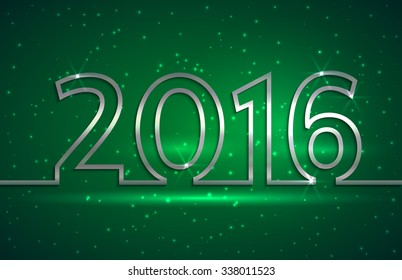 illustration of 2016 new year greeting billboard with silver wire on green background