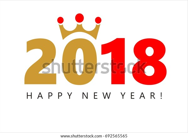 Illustration of 2018 New Year Celebration with a golden crown on the zero and Happy New Year wishes