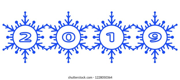 Illustration of the 2019 abstract winter snowflakes lettering