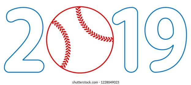 Illustration of the 2019 baseball ball lettering