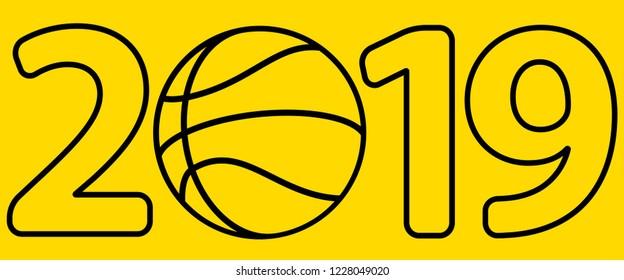 Illustration of the 2019 basketball ball lettering